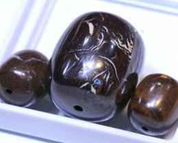 82.45 CTS-Yowah Opal Bead Parcel 3- pcs  Ro-2095   raniopals