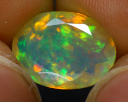 Welo Opal 2.10Ct Natural Faceted Ethiopian Play of Color Opal G1807/A44