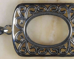 Eva Silver Pendant Setting -Oval 20x15mm  [37773]