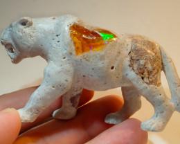 500ct Jaguar Mexican Matrix Carving Figurine Fire Opal