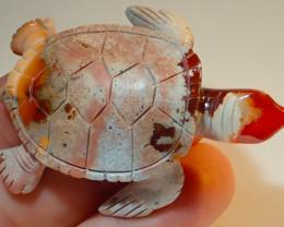 100ct Sea Turtle Mexican Matrix Carving Figurine Fire Opal