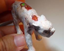 500ct Feline Mexican Matrix Carving Figurine Fire Opal