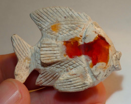100ct Fish Mexican Matrix Carving Figurine Fire Opal