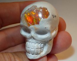 100ct Skull Mexican Matrix Carving Figurine Fire Opal