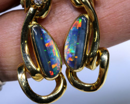 67.25CTS SOLID BLACK OPAL AND DIAMOND EARRINGS   Investmentopals