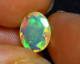 Welo Opal 1.00Ct Natural Faceted Ethiopian Play of Color Opal G2710/A44