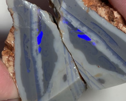 Huge Thick Dark Seam Opal Rough Split With Blue Bars to Cut #260
