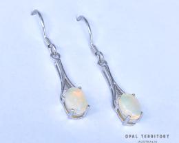 100% Australian Solid Opal Earrings with Sterling Silver by OPAL TERRITORY