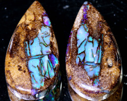 12.60 CTS BOULDER WOOD REPLACEMENT PAIR NC-9966  NICEOPALS