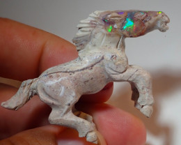 50ct Horse Mexican Matrix Carving Fire Figurine Opal