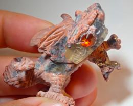 100ct Dragon Mexican Matrix Carving Fire Figurine Opal