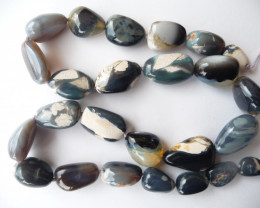 Australian Lightning Ridge Opal Bead Strand, large freeform beads