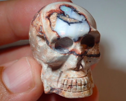 120ct Skull Mexican Matrix Carving Fire Figurine Opal