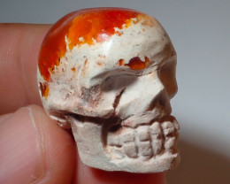 60ct Skull Mexican Matrix Carving Fire Figurine Opal