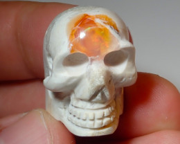 41.92ct Skull Mexican Matrix Carving Fire Figurine Opal