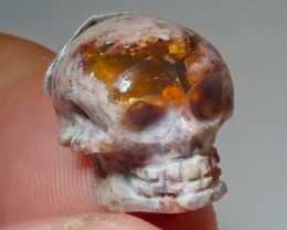 16.36ct Skull Mexican Matrix Carving Fire Figurine Opal