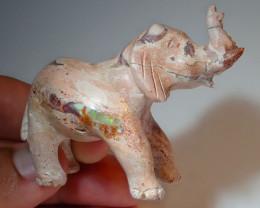100ct Elephant Mexican Matrix Carving Fire Figurine Opal