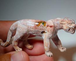 100ct Jaguar Mexican Matrix Carving Fire Figurine Opal
