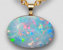 Australian Genuine Opal Pendant 14k Gold Doublet 4.65ct Gift