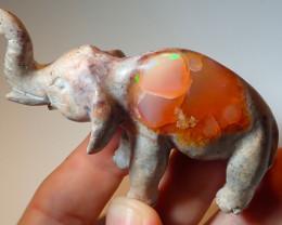180ct Elephant Mexican Matrix Carving Fire Figurine Opal