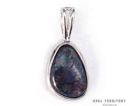 100% Australian Boulder Opal Pendant with Sterling Silver by OPAL TERRITORY