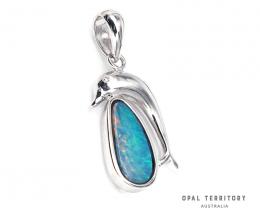 100% Australian Opal Doublet Dolphin Pendant by OPAL TERRITORY