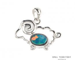 100% Australian Opal Doublet Sheep Pendant by OPAL TERRITORY
