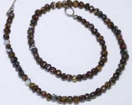 Boulder Opal Matrix Bead Necklace (46cm long) Code-JNO01