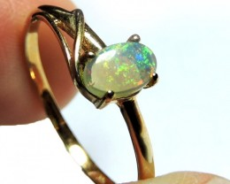 BEAUTIFUL CRYSTAL OPAL 9K GOLD RING SIZE 6.5 SCO1517