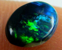BLACK OPAL IDEAL RING STONE GREEN HUES . .45  CTS   QO 2360