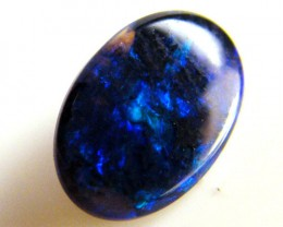 BLACK OPAL IDEAL RING STONE GREEN HUES    .45CTS   QO 2436