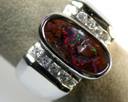 BEAUTIFUL RED FLASH BOULDER OPAL RING 8.5 SIZE 4CTS SCA1140