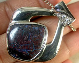 BLUE VEIN FLASH BOULDER OPAL PENDANT 14 CTS SCA1162