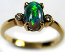 GREEN ROLLING FIRE BLACK OPAL 18K GOLD RING SIZE 5.5 SCA1261