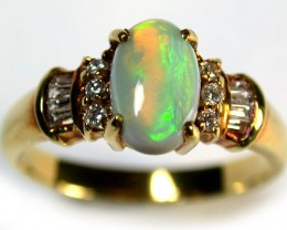 ROLLING SUNSET RED FIRECRYSTAL  OPAL 18K GOLD RING SIZE6 SCA1349
