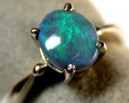 GREEN FLASH BLACK OPAL 18K WHITE GOLD RING SIZE 6 SCA1351
