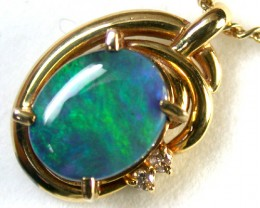 GREEN SHIMMER FLASH BLK OPAL 18K GOLD PENDANT 1.7 CT SCA1364