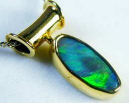 GREEN FIRE BLACK OPAL 18K GOLD PENDANT 2.3 CTS SCA1381