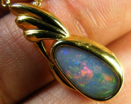 SUNSET RED FLASH BLACK OPAL 18K GOLD PENDANT 2.7 CTS SCA1384