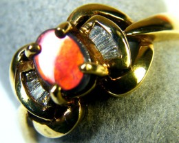 RICH RED FIRE BLACK OPAL 18K GOLD RING SIZE 6.5  SCA1392