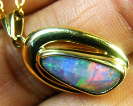 RICH MULTI FIRE BLACK OPAL 18K GOLD PENDANT 2.1 CTS SCA1395
