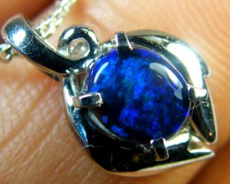 BLUE FLASH BLACK OPAL PLATINUM PENDANT .9 CTS SCA1400