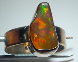5.5size Natural Ethiopian Welo Opal .925 Sterling Silver Ring