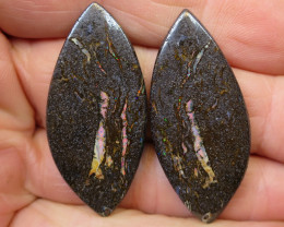 59cts, **WOOD FOSSIL OPAL~PAIR**