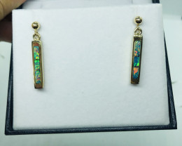 Inlay red opal earrings 14ct yellow gold