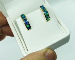 Inlay opal earrings in 14ct yellow gold