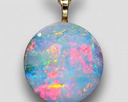 Genuine  Australian Opal Pendant 14k Gold Doublet 5.75ct