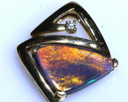 12.60 CTS  BLACK OPAL 18K GOLD PENDANT OF-N396  LAZ