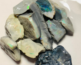Big & Thick Rough Seam Opals Showing Bright Colour Bars to Gamble