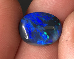 USA Seller! Black opal gem cabochon. Royal Blue with flecks of green
